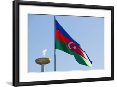 National Flag Blowing in Wind, Baku, Azerbaijan-Michael Runkel-Framed Photographic Print