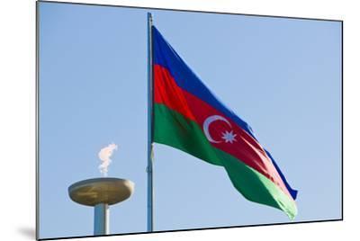National Flag Blowing in Wind, Baku, Azerbaijan-Michael Runkel-Mounted Photographic Print