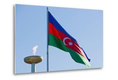 National Flag Blowing in Wind, Baku, Azerbaijan-Michael Runkel-Metal Print