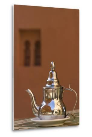 Africa, Morocco, Dades Gorge. Tea Service Reflects the Colors of Steep Walls-Brenda Tharp-Metal Print