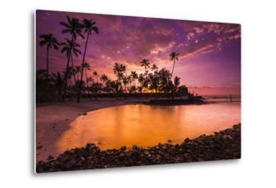 Sunset over Pu'Uhonua O Honaunau National Historic Park, Kona Coast, Hawaii-Russ Bishop-Metal Print