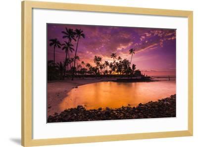 Sunset over Pu'Uhonua O Honaunau National Historic Park, Kona Coast, Hawaii-Russ Bishop-Framed Photographic Print