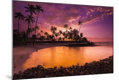 Sunset over Pu'Uhonua O Honaunau National Historic Park, Kona Coast, Hawaii-Russ Bishop-Mounted Photographic Print