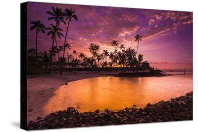 Sunset over Pu'Uhonua O Honaunau National Historic Park, Kona Coast, Hawaii-Russ Bishop-Stretched Canvas Print