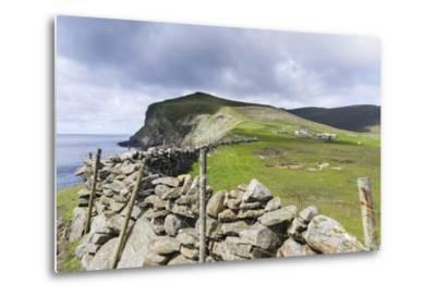 Shetland Islands, Foula, Hametown Settlement. Stone Fence around the Cliffs-Martin Zwick-Metal Print