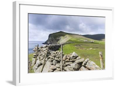 Shetland Islands, Foula, Hametown Settlement. Stone Fence around the Cliffs-Martin Zwick-Framed Photographic Print