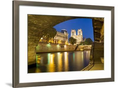 Twilight under Pont Saint Michel with Cathedral Notre Dame, Paris-Brian Jannsen-Framed Photographic Print