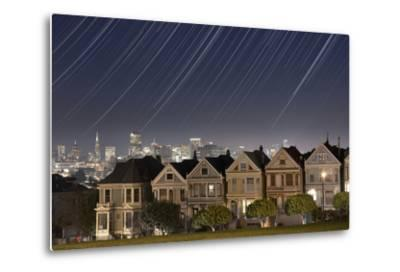 California, San Francisco. Composite of Star Trails Above Painted Ladies Victorian Homes-Jaynes Gallery-Metal Print