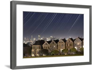 California, San Francisco. Composite of Star Trails Above Painted Ladies Victorian Homes-Jaynes Gallery-Framed Photographic Print