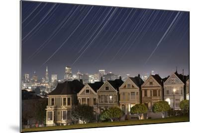 California, San Francisco. Composite of Star Trails Above Painted Ladies Victorian Homes-Jaynes Gallery-Mounted Photographic Print
