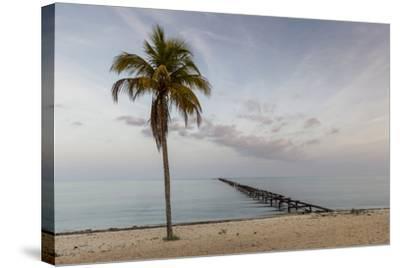Soft Light Illuminates an Old Pier, Cuba-James White-Stretched Canvas Print