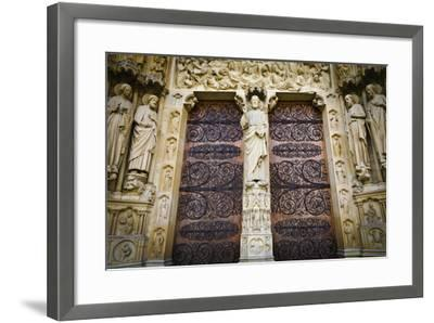 The Main Entrance to Notre Dame Cathedral, Paris, France-Russ Bishop-Framed Photographic Print