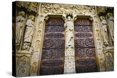 The Main Entrance to Notre Dame Cathedral, Paris, France-Russ Bishop-Stretched Canvas Print