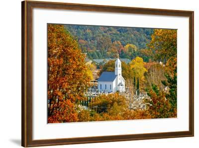 St. Sava Serbian Church and Cemetery in Jackson, California Surrounded by Fall Colors-John Alves-Framed Photographic Print