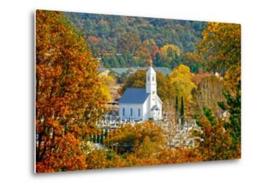 St. Sava Serbian Church and Cemetery in Jackson, California Surrounded by Fall Colors-John Alves-Metal Print