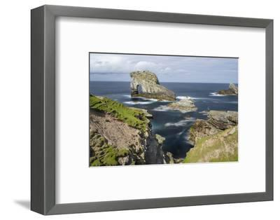 Foula Part of Shetland Islands. Cliffs in North at East Hoevdi with Natural Arch Gaada Stack-Martin Zwick-Framed Photographic Print