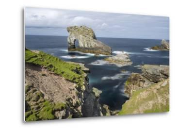 Foula Part of Shetland Islands. Cliffs in North at East Hoevdi with Natural Arch Gaada Stack-Martin Zwick-Metal Print