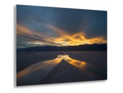 California. Death Valley National Park. Sunset with Reflections, Cotton Ball Basin-Judith Zimmerman-Metal Print