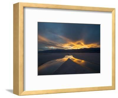California. Death Valley National Park. Sunset with Reflections, Cotton Ball Basin-Judith Zimmerman-Framed Photographic Print