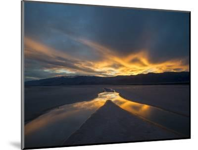 California. Death Valley National Park. Sunset with Reflections, Cotton Ball Basin-Judith Zimmerman-Mounted Photographic Print