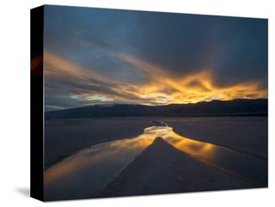 California. Death Valley National Park. Sunset with Reflections, Cotton Ball Basin-Judith Zimmerman-Stretched Canvas Print