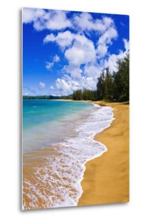 Empty Beach and Blue Pacific Waters on Hanalei Bay, Island of Kauai, Hawaii-Russ Bishop-Metal Print