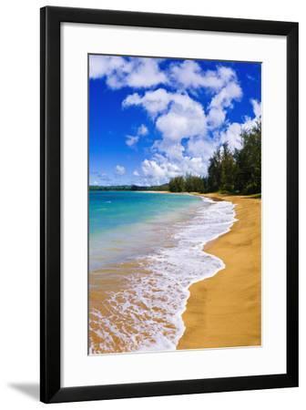 Empty Beach and Blue Pacific Waters on Hanalei Bay, Island of Kauai, Hawaii-Russ Bishop-Framed Photographic Print