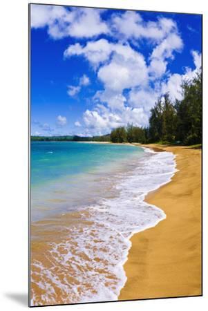 Empty Beach and Blue Pacific Waters on Hanalei Bay, Island of Kauai, Hawaii-Russ Bishop-Mounted Photographic Print