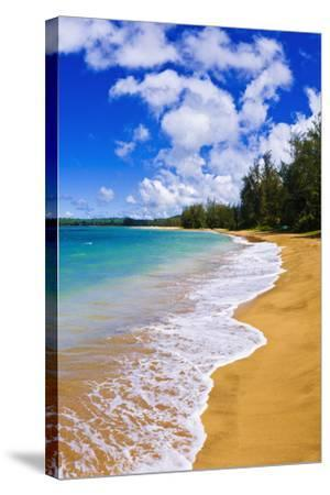 Empty Beach and Blue Pacific Waters on Hanalei Bay, Island of Kauai, Hawaii-Russ Bishop-Stretched Canvas Print