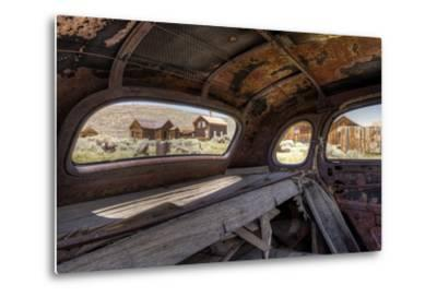 California, Bodie State Historic Park. Inside Abandoned Car Looking Out-Jaynes Gallery-Metal Print