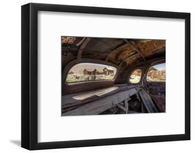 California, Bodie State Historic Park. Inside Abandoned Car Looking Out-Jaynes Gallery-Framed Photographic Print