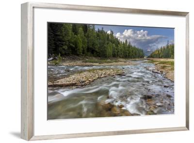 Doris Creek Runs into Hungry Horse Reservoir with Flathead Range, Flathead National Forest, Montana-Chuck Haney-Framed Photographic Print
