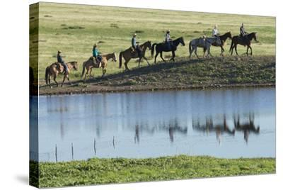 Philmont Cavalcade Ride Along Pond with Reflection, Cimarron, New Mexico-Maresa Pryor-Stretched Canvas Print