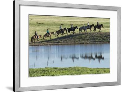 Philmont Cavalcade Ride Along Pond with Reflection, Cimarron, New Mexico-Maresa Pryor-Framed Photographic Print
