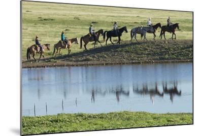 Philmont Cavalcade Ride Along Pond with Reflection, Cimarron, New Mexico-Maresa Pryor-Mounted Photographic Print