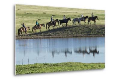 Philmont Cavalcade Ride Along Pond with Reflection, Cimarron, New Mexico-Maresa Pryor-Metal Print