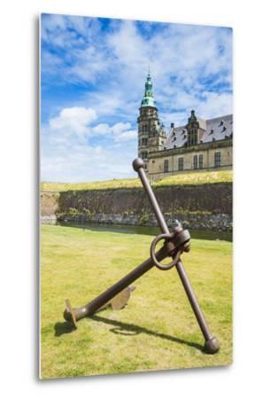 Huge Old Anchor before UNESCO World Heritage Site Kronborg Renaissance Castle, Helsingor, Denmark-Michael Runkel-Metal Print