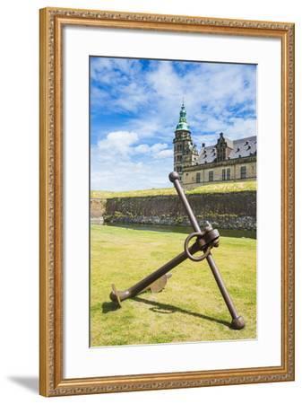 Huge Old Anchor before UNESCO World Heritage Site Kronborg Renaissance Castle, Helsingor, Denmark-Michael Runkel-Framed Photographic Print