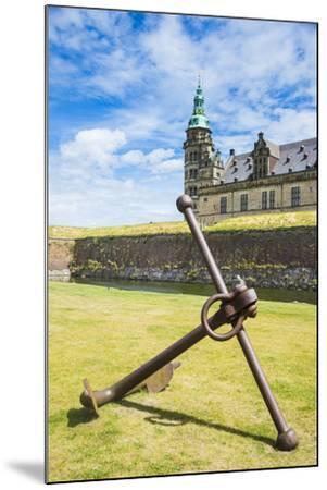 Huge Old Anchor before UNESCO World Heritage Site Kronborg Renaissance Castle, Helsingor, Denmark-Michael Runkel-Mounted Photographic Print