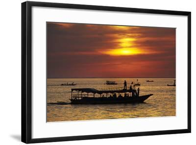 Sunset over Boats on Tonle Sap Lake at Chong Kneas Floating Village, Near Siem Reap, Cambodia-David Wall-Framed Photographic Print