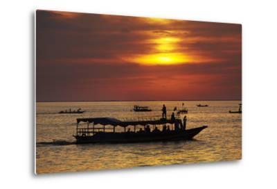 Sunset over Boats on Tonle Sap Lake at Chong Kneas Floating Village, Near Siem Reap, Cambodia-David Wall-Metal Print