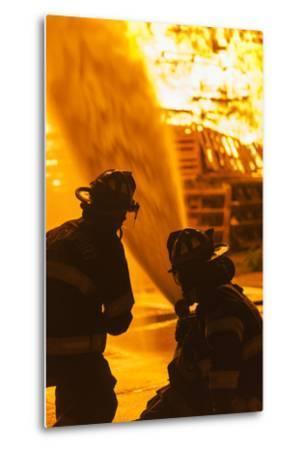 Massachusetts, Cape Ann, Rockport, Fourth of July Bonfire, Firemen-Walter Bibikow-Metal Print