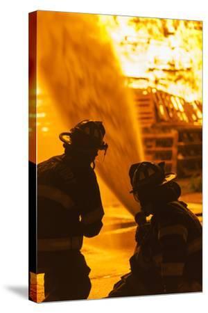 Massachusetts, Cape Ann, Rockport, Fourth of July Bonfire, Firemen-Walter Bibikow-Stretched Canvas Print