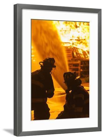 Massachusetts, Cape Ann, Rockport, Fourth of July Bonfire, Firemen-Walter Bibikow-Framed Photographic Print