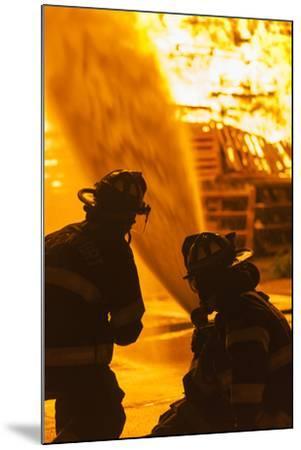 Massachusetts, Cape Ann, Rockport, Fourth of July Bonfire, Firemen-Walter Bibikow-Mounted Photographic Print
