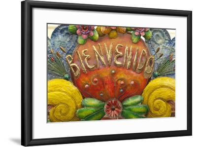 Mexico, San Miguel De Allende. a Colorful Metal Sign Saying 'Welcome' Is Sold in a Market-Brenda Tharp-Framed Photographic Print