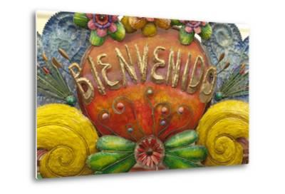 Mexico, San Miguel De Allende. a Colorful Metal Sign Saying 'Welcome' Is Sold in a Market-Brenda Tharp-Metal Print