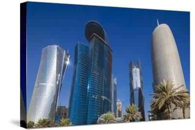 Qatar, Doha, Doha Bay, West Bay Skyscrapers from the Corniche, Morning-Walter Bibikow-Stretched Canvas Print