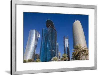 Qatar, Doha, Doha Bay, West Bay Skyscrapers from the Corniche, Morning-Walter Bibikow-Framed Photographic Print