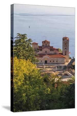 Macedonia, Ohrid, Lake Ohrid, Saint Panteleimon Monastery on Plaosnik-Emily Wilson-Stretched Canvas Print